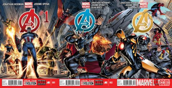 Avengers (2012) #1-3 covers by Dustin Weaver
