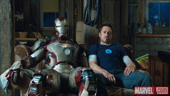 Tony Stark (Robery Downey, Jr.) and the damaged Mark 42 from Marvel's Iron Man 3