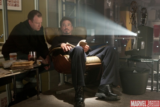 Kevin Feige, Marvel Studios President, with Robert Downey Jr. during the filming of ''Iron Man 2.''