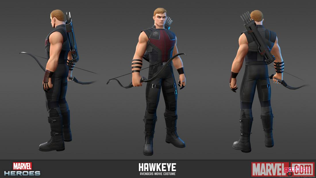 Character render of Hawkeye (Avengers movie costume from Marvel Heroes)