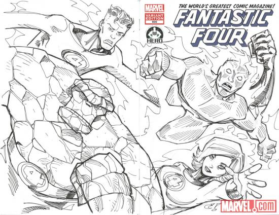 Fantastic Four #600 Hero Initiative variant cover by Chris Rousseau