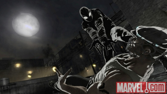 A screenshot of Spider-Man Noir from Spider-Man: Shattered Dimensions