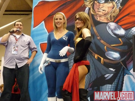 Mike Pasciullo and Invisible Woman and Ms. Marvel cosplayers at Marvel's Fan Expo Canada Costume Contest