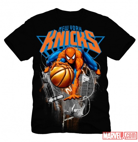 New York Knicks NBA Marvel Spider-Man T-Shirt Concept Art