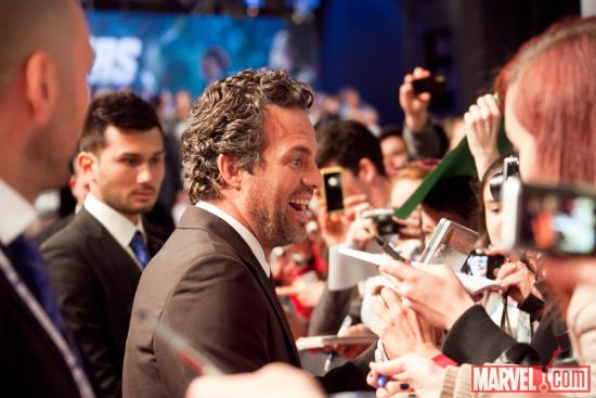 Mark Ruffalo (Hulk) at the red carpet premiere of Marvel's The Avengers in Rome