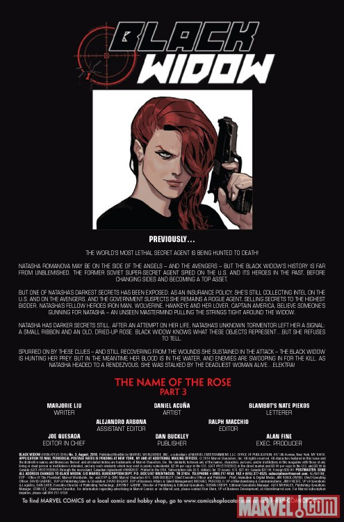 BLACK WIDOW #3 recap page