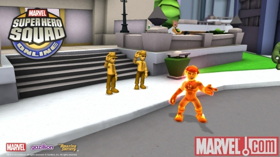 Screenshot of the Human Torch from Super Hero Squad Online