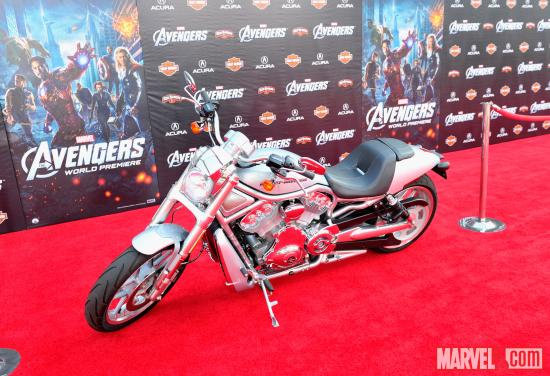 Harley-Davidson motorcycle on Avengers red carpet