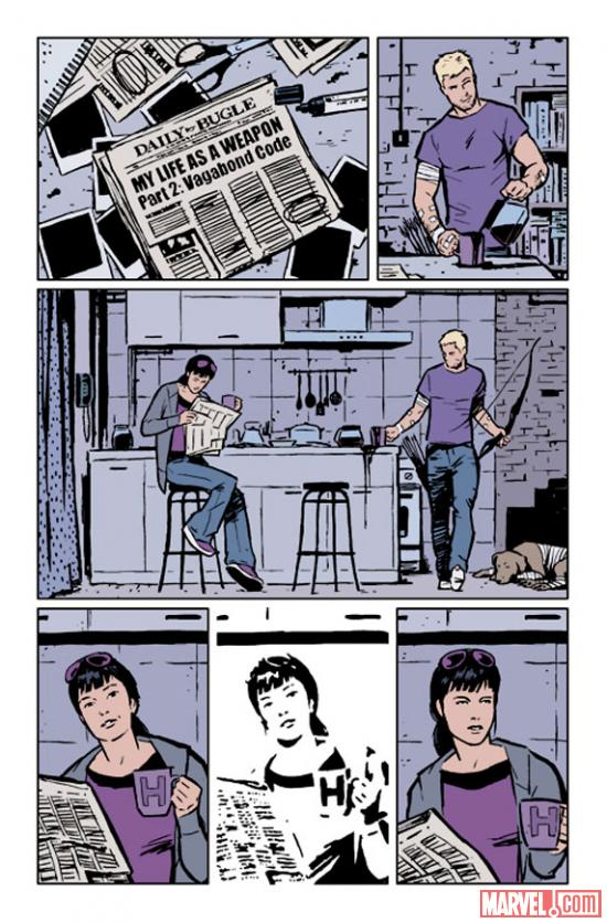Hawkeye #2 preview art by David Aja