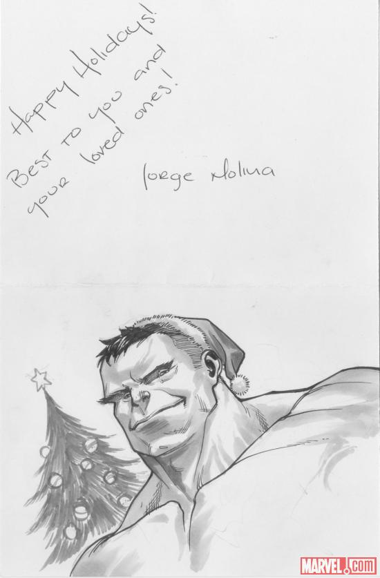 2012 Happy Holidays sketch card from Jorge Molina, featuring Hulk