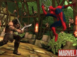 Screenshot of Spider-Man and Kraven from Spider-Man: Shattered Dimensions