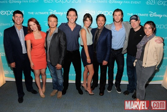 Marvel's The Avengers backstage at the Disney 2011 D23 Expo in Anaheim, Calif.