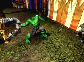 Hulk battles clowns on Murderworld