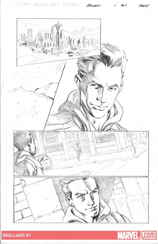 Brilliant #1 preview pencils by Mark Bagley
