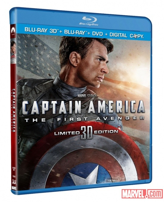 Captain America: The First Avenger Blu-ray 3D Three-Disc Combo Pack box art