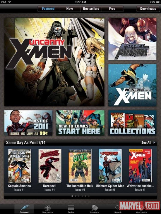 Marvel Comics app 3.0 interface screen