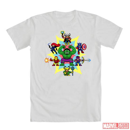 """The 8-Bit Avengers"" by Drew Wise shirt design for Mighty Fine"