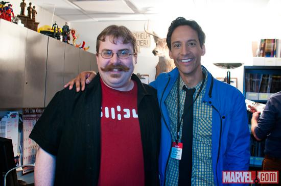 Marvel comics editor Jordan White and Danny Pudi