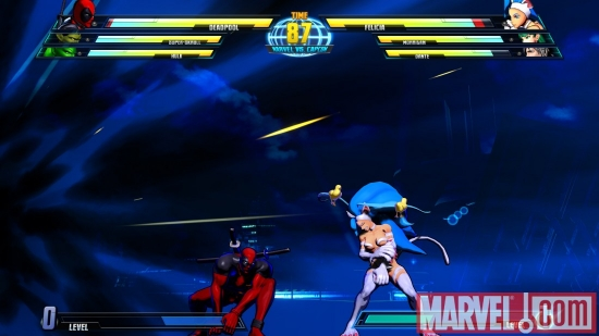 Screenshot of Deadpool and Felicia from ''Marvel vs. Capcom 3''