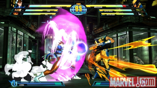 Screenshot of Wolverine and Chun-Li from ''Marvel vs. Capcom 3''