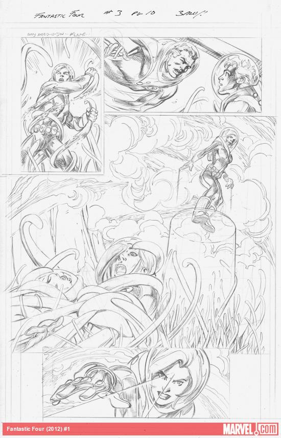 Fantastic Four (2012) #1 preview pencils by Mark Bagley