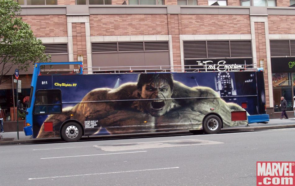 The Hulk Bus takes on passengers