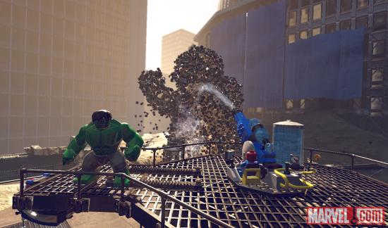 Spider-Man douses Sandman with a water cannon in LEGO Marvel Super Heroes