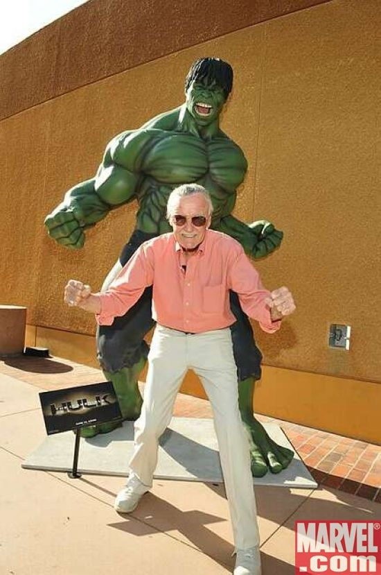Executive Producer Stan Lee poses with the Hulk