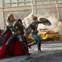 Chris Hemsworth and Chris Evans star as Thor and Captain America in Marvel's The Avengers