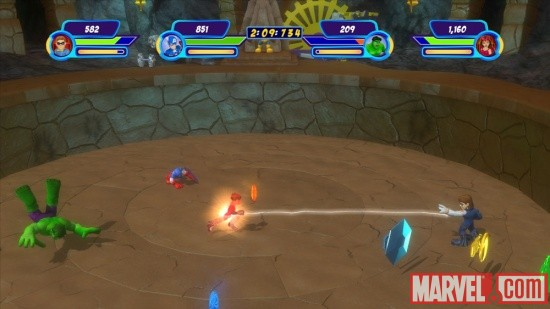 Screenshot of The Thanos Throwdown from Marvel Super Hero Squad: The Infinity Gauntlet