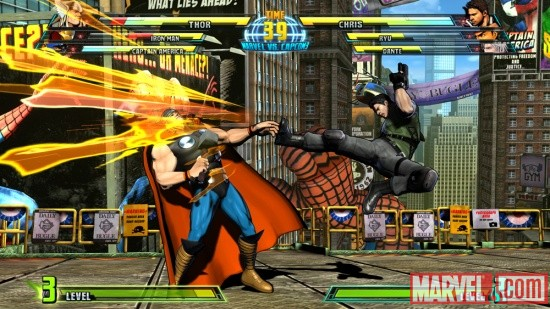 Screenshot of Thor vs. Chris from Marvel vs. Capcom 3