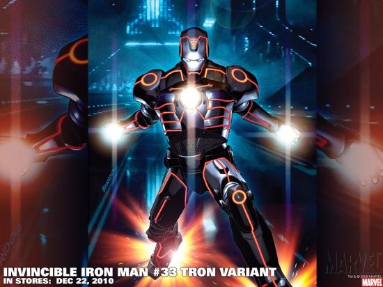 Invincible Iron Man #33 Tron variant by Salvador Larroca