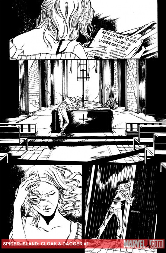 Spider-Island: Cloak &amp; Dagger #1 preview inks by Emma Rios