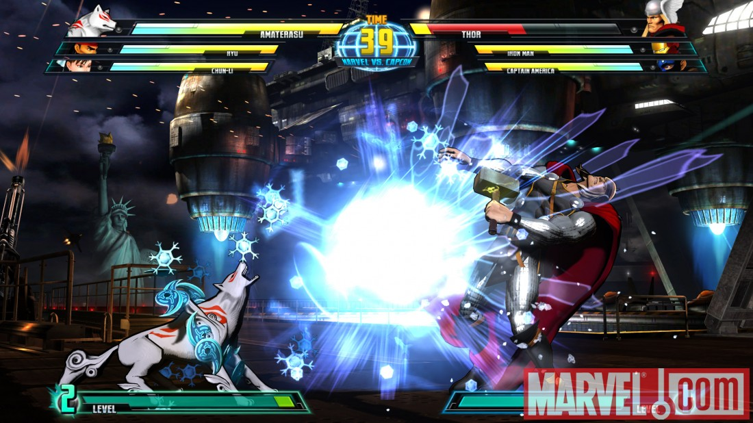 Screenshot of Thor and Amaterasu  from ''Marvel vs. Capcom 3''
