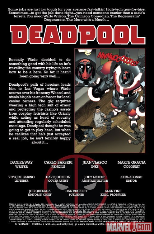 Deadpool #26 recap page