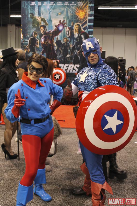 Bucky and Captain America cosplayers at Wondercon 2012