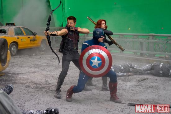 Chris Evans (Captain America), Scarlett Johansson (Black Widow) and Jeremy Renner (Hawkeye) on the set of Marvel's The Avengers
