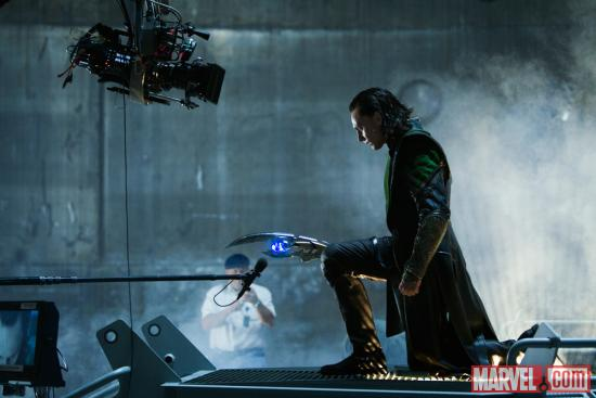 Tom Hiddleston (Loki) on the set of Marvel's The Avengers