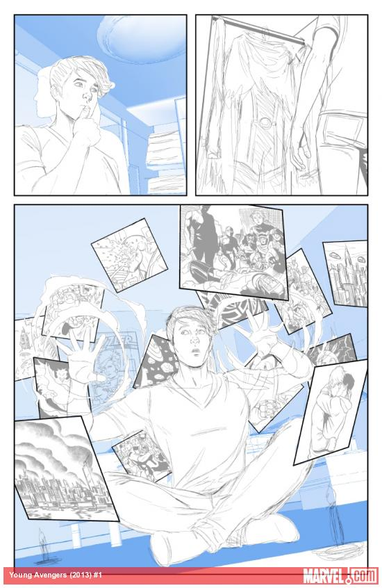 Young Avengers #1 (2013) preview pencils by Jamie McKelvie