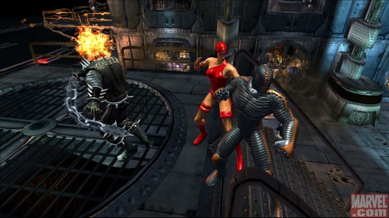 Ghost Rider and Elektra Battle A Destroyer