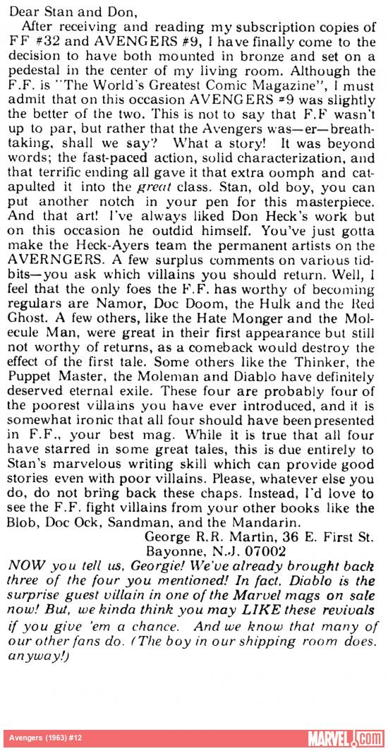 George R. R. Martin's letter printed in Avengers (1963) #12