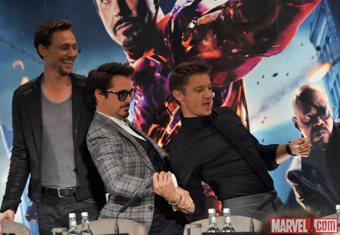 Tom Hiddleston, Robert Downey, Jr., and Jeremy Renner at the London press conference for &quot;Marvel's The Avengers&quot;