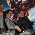 "Tom Hiddleston, Robert Downey, Jr., and Jeremy Renner at the London press conference for ""Marvel's The Avengers"""