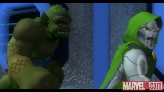 Screenshot of Doctor Doom and Abomination from Marvel Super Hero Squad: The Infinity Gauntlet