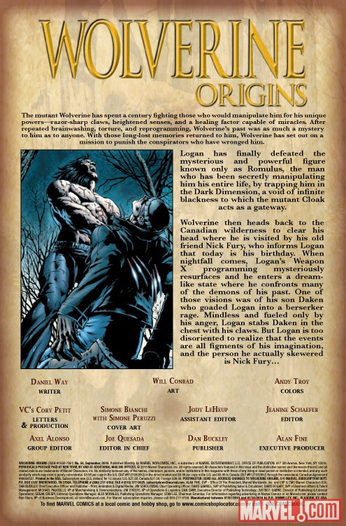 WOLVERINE ORIGINS #50 recap page