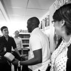 Actor Michael K. Williams with Marvel Senior Editor Nick Lowe, Editor Jeanine Schaefer and editor Daniel Ketchum