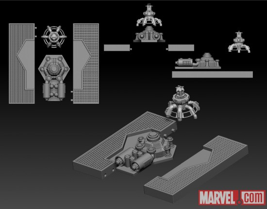 Model of Marvel Select First Avenger Red Skull's Base Accessory From Diamond Select Toys