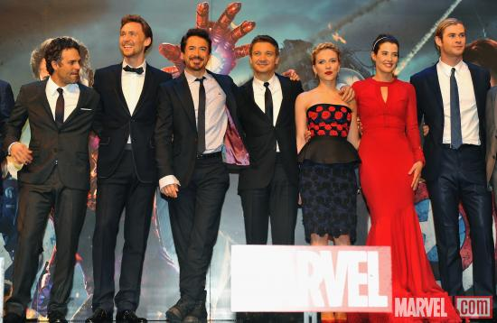 "The cast on the red carpet of the London premiere of ""Marvel's The Avengers"""