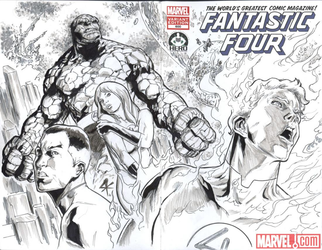 Fantastic Four #600 Hero Initiative variant cover by Steve Kurth