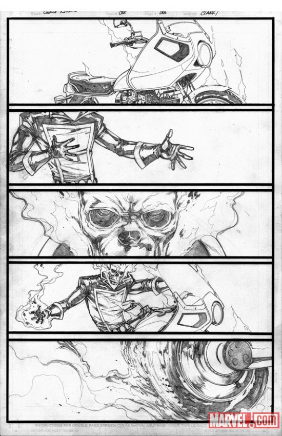 Ghost Rider (2011) #1 pencils by Matthew Clark